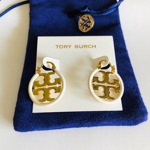 Tory Burch Miller Small Hoop Earrings Ivory